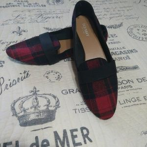 Red & Black plaid loafers by Old Navy